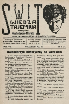 Świt : wiedza tajemna : miesięcznik okultystyczno-literacki. 1932, nr9