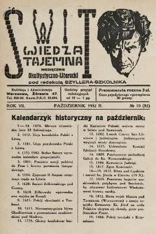 Świt : wiedza tajemna : miesięcznik okultystyczno-literacki. 1932, nr10