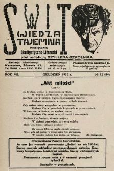 Świt : wiedza tajemna : miesięcznik okultystyczno-literacki. 1932, nr12