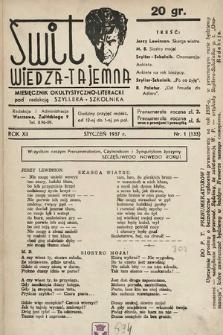 Świt : wiedza tajemna : miesięcznik okultystyczno-literacki. 1937, nr1