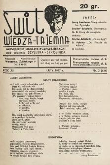 Świt : wiedza tajemna : miesięcznik okultystyczno-literacki. 1937, nr2