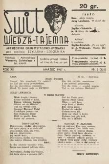 Świt : wiedza tajemna : miesięcznik okultystyczno-literacki. 1937, nr3