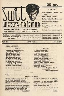 Świt : wiedza tajemna : miesięcznik okultystyczno-literacki. 1937, nr5
