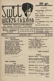 Świt : wiedza tajemna : miesięcznik okultystyczno-literacki. 1937, nr6