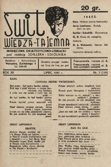 Świt : wiedza tajemna : miesięcznik okultystyczno-literacki. 1937, nr7