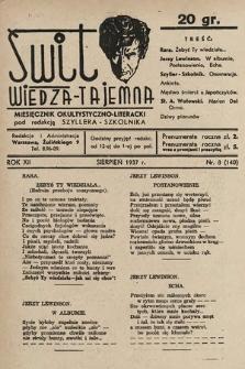 Świt : wiedza tajemna : miesięcznik okultystyczno-literacki. 1937, nr8
