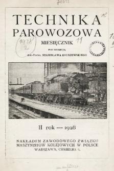 """Technika Parowozowa : dodatek do organu Z.Z.M. """"Maszynista"""". 1928, spis rzeczy"""