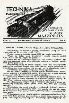 """Technika Parowozowa : dodatek do organu Z.Z.M. """"Maszynista"""". 1928, nr8"""