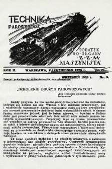 """Technika Parowozowa : dodatek do organu Z.Z.M. """"Maszynista"""". 1928, nr9"""