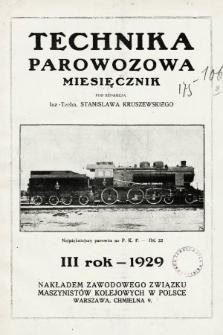 """Technika Parowozowa : dodatek do organu Z.Z.M. """"Maszynista"""". 1929, spis rzeczy"""