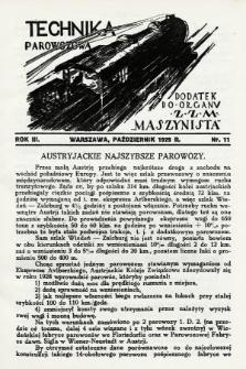 """Technika Parowozowa : dodatek do organu Z.Z.M. """"Maszynista"""". 1929, nr11"""