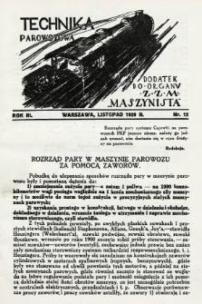 """Technika Parowozowa : dodatek do organu Z.Z.M. """"Maszynista"""". 1929, nr12"""