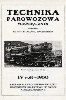 """Technika Parowozowa : dodatek do organu Z.Z.M. """"Maszynista"""". 1930, spis rzeczy"""