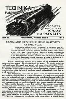 """Technika Parowozowa : dodatek do organu Z.Z.M. """"Maszynista"""". 1930, nr3"""