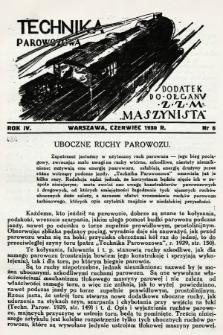 """Technika Parowozowa : dodatek do organu Z.Z.M. """"Maszynista"""". 1930, nr6"""