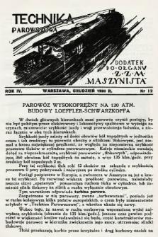 """Technika Parowozowa : dodatek do organu Z.Z.M. """"Maszynista"""". 1930, nr12"""