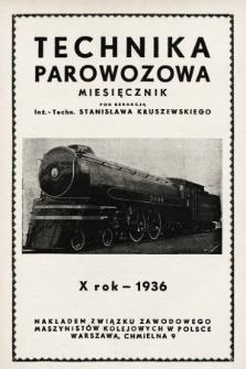 """Technika Parowozowa : dodatek do organu Z.Z.M. """"Maszynista"""". 1936, spis rzeczy"""