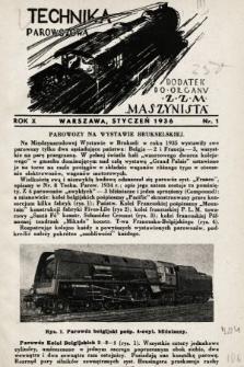 """Technika Parowozowa : dodatek do organu Z.Z.M. """"Maszynista"""". 1936, nr1"""