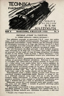 """Technika Parowozowa : dodatek do organu Z.Z.M. """"Maszynista"""". 1936, nr4"""