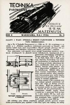 """Technika Parowozowa : dodatek do organu Z.Z.M. """"Maszynista"""". 1936, nr5"""