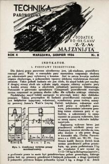 """Technika Parowozowa : dodatek do organu Z.Z.M. """"Maszynista"""". 1936, nr8"""