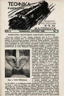 """Technika Parowozowa : dodatek do organu Z.Z.M. """"Maszynista"""". 1936, nr11"""