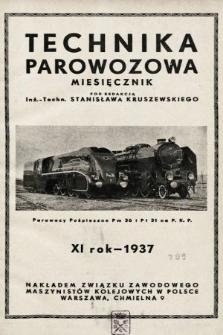 """Technika Parowozowa : dodatek do organu Z.Z.M. """"Maszynista"""". 1937, spis rzeczy"""