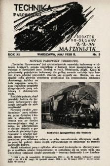 """Technika Parowozowa : dodatek do organu Z.Z.M. """"Maszynista"""". 1938, nr5"""
