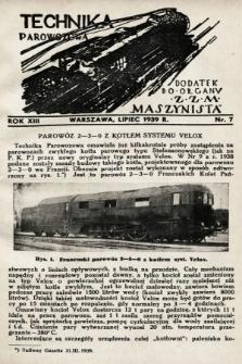 """Technika Parowozowa : dodatek do organu Z.Z.M. """"Maszynista"""". 1939, nr7"""