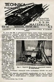 """Technika Parowozowa : dodatek do organu Z.Z.M. """"Maszynista"""". 1939, nr8"""