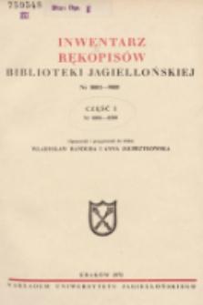Inwentarz rękopisów Biblioteki Jagiellońskiej : nr 8001-9000. Cz. 1, nr 8001-8500
