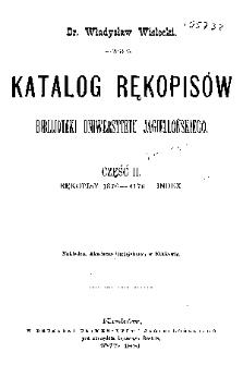 Katalog rękopisów Biblijoteki Uniwersytetu Jagiellońskiego Cz. 2