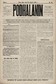 Podhalanin : pismo polityczne iekonomiczno-społeczne. R.2, 1900, nr20
