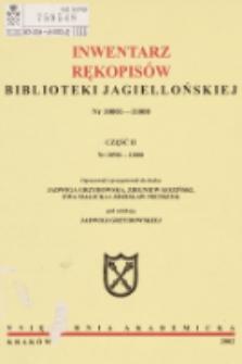 Inwentarz rękopisów Biblioteki Jagiellońskiej : nr 10001-11000. Cz. II, nr 10501-11000