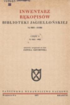 Inwentarz rękopisów Biblioteki Jagiellońskiej : nr 9001-10000. Cz. I, nr 9001-9500