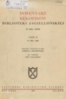 Inwentarz rękopisów Biblioteki Jagiellońskiej : nr 9001-10000. Cz. 2, nr 9501-9800