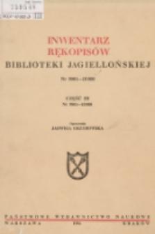 Inwentarz rękopisów Biblioteki Jagiellońskiej : nr 9001-10000. Cz. III, nr 9801-10000