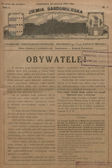 Ziemia Sandomierska : czasopismo samorządowo-społeczne. R. I, 1929, nr 7