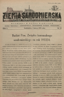Ziemia Sandomierska : czasopismo samorządowo-społeczne. R. V, 1933, nr 10
