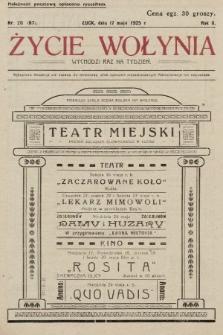 Życie Wołynia : czasopismo bezpartyjne, myśli i czynowi polskiemu na Wołyniu poświęcone. 1925, nr20