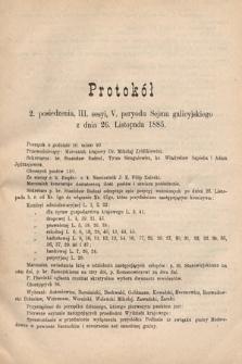 [Kadencja V, sesja III, pos.2] Protokoły z 3. Sesyi V. Peryodu Sejmu Krajowego Królestwa Galicyi i Lodomeryi z Wielkiem Księstwem Krakowskiem w roku 1885/6. Protokół2