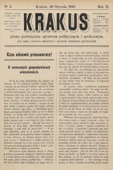 Krakus : pismo poświęcone sprawom politycznym i społecznym, oraz nauce, rozrywce umysłowej i szerzeniu wiadomości pożytecznych. 1892, nr 5