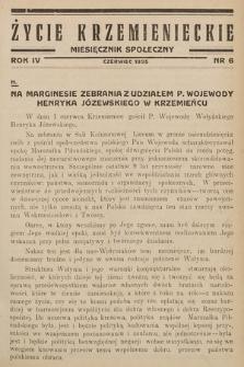 Życie Krzemienieckie : miesięcznik społeczny. 1935, nr 6