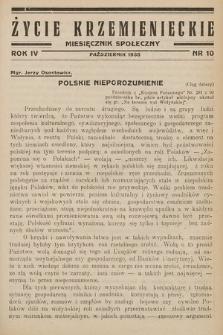 Życie Krzemienieckie : miesięcznik społeczny. 1935, nr 10