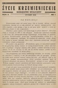 Życie Krzemienieckie : miesięcznik społeczny. 1936, nr 1