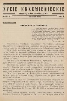 Życie Krzemienieckie : miesięcznik społeczny. 1936, nr 4