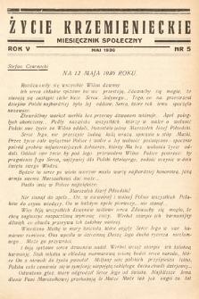 Życie Krzemienieckie : miesięcznik społeczny. 1936, nr 5