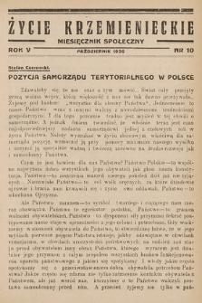 Życie Krzemienieckie : miesięcznik społeczny. 1936, nr 10
