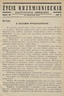 Życie Krzemienieckie : dwutygodnik społeczny. 1937, nr 8