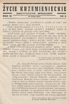 Życie Krzemienieckie : dwutygodnik społeczny. 1937, nr 9